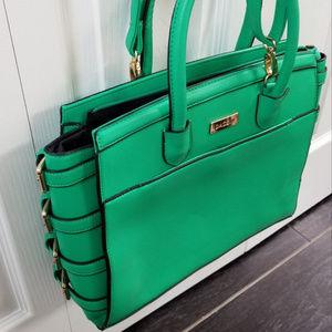 Top handle Green purse handbag with side buckles